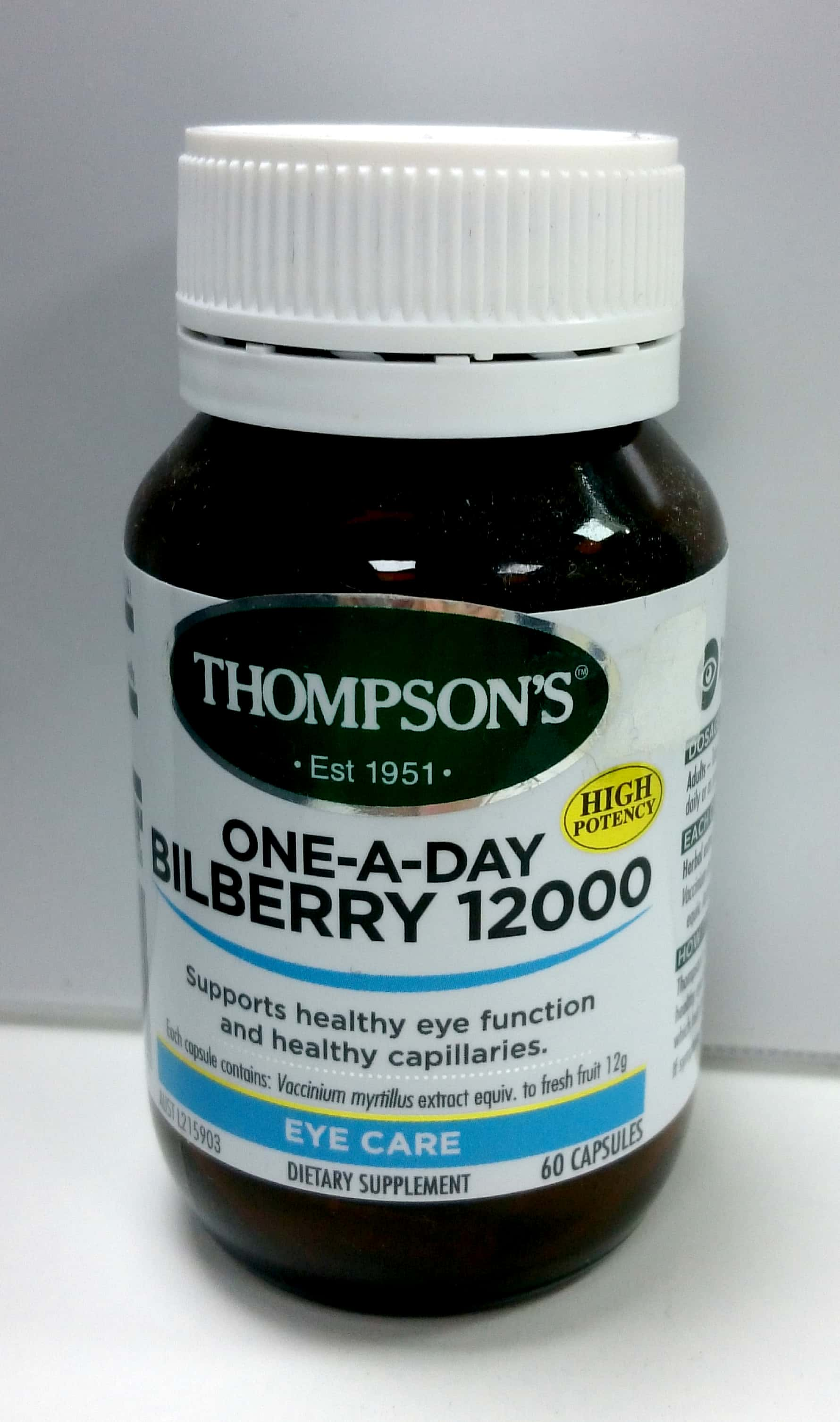 Thompsons 1d Bilberry 12000mg Cap 60 Blackmores Coq10 75mg 30 Medication 9400575002071 Front